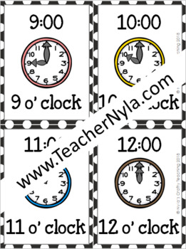 Hour and Half Hour Clock Flash Cards