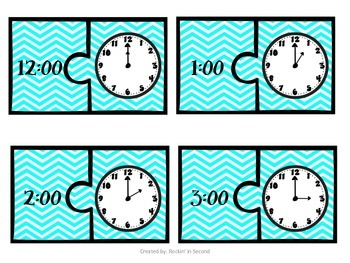 Hour and Half Hour Clock Puzzles