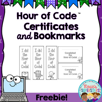 Hour of Code™ Participation Bookmarks and Certificates Freebie