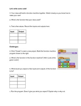 Hour of Code + Scratch + CCSS Math Functions Machine Lesson