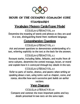 Hour of the Olympics Novel Study Unit Resource Magic Tree House Common Core