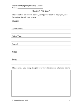 Hour of the Olympics Worksheets (Magic Tree House #16) *With Answers!*