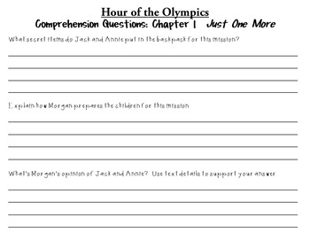 Hour of the Olympics by Mary Pope Osborne:  A Complete Literature Study!