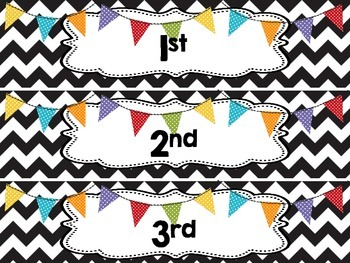 Hour or Period Drawer Labels -Chevron and Banners