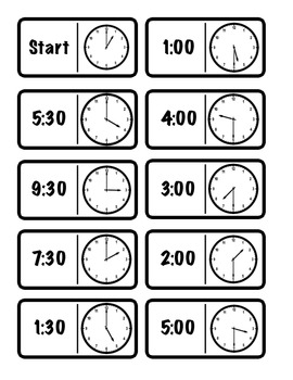 Hour/Half Hour Time Dominoes (2.MD.7)