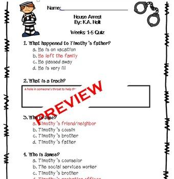 House Arrest Novel Unit Quiz Pack by K.A. Holt