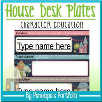 Desk Plates / Name Plates - Character Education & Chalkboard Theme