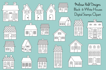 Black & White House Digital Stamps Clipart