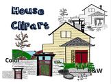 House Clip Art - garden, path, roof, chimney, window, door, path, and gate