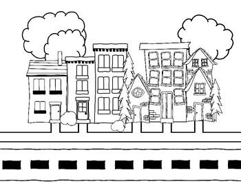 House Coloring Page Neighborhood By Teacher Alias Tpt
