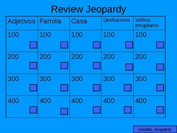 House, Family & Chores Jeopardy Review