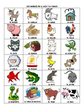 House & Farm Animal Vocabulary List