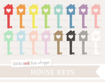 House Key Clipart; Moving, Skeleton Key, Heart, Valentines Day