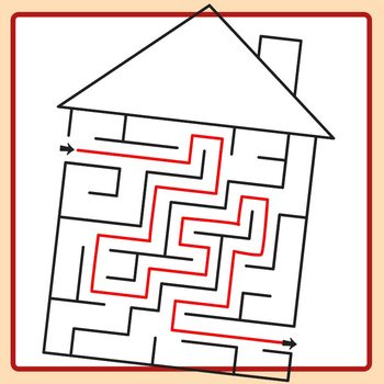 House Maze with Blank Roof and Solutions Clip Art Set for Commercial Use