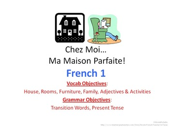 House, Objects, Activities Vocab Project for French 1; Rub