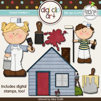 House Painters 1-  Digi Clip Art/Digital Stamps - CU Clip Art