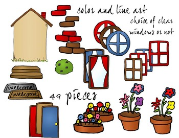 House Pieces Clip Art - Color and Line Art 49 pc set