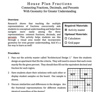 House Plan Fractions: Connecting Fractions, Decimals, and Percents with Geometry