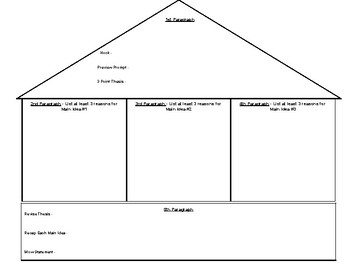 House Plan Graphic Organizer for Writing