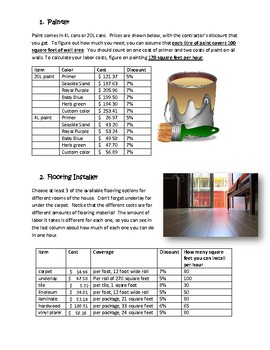 House Project Performance Task (Grade 8)