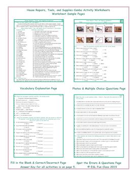 House Repairs, Tools, and Supplies Combo Activity Worksheets