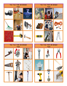 House Repairs, Tools and Supplies Tic-Tac-Toe or Bingo