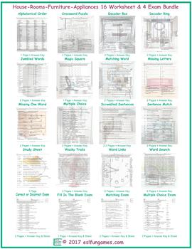 House-Rooms-Furniture-Appliances 16 Worksheet- 4 Exam Bundle
