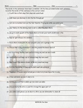 House Rooms-Furniture Scrambled Sentences Worksheet