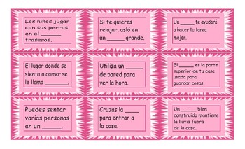 House, Rooms, Furniture and Appliances Spanish Card Game