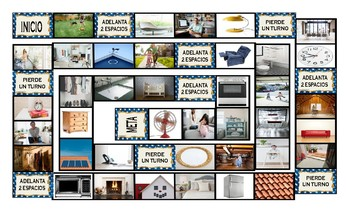 House Rooms and Furniture Spanish Legal Size Photo Board Game
