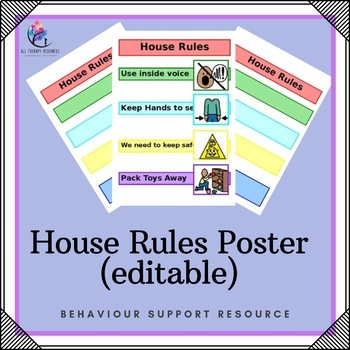 House Rules Poster Editable By All Therapy Resources Tpt