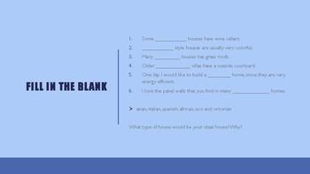 The Blue Cloud Bubble ESL Power Point Lesson-House Styles