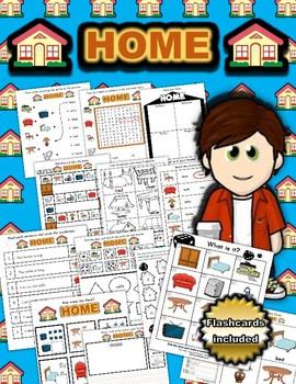 House Themed Activity Set / Worksheets + Flashcards
