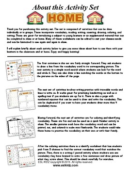 House Themed Activity Set / Worksheets + Flashcards
