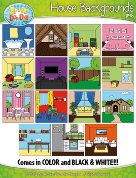 House Background Scenes Clipart {Zip-A-Dee-Doo-Dah Designs}