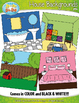 House Themed Background Scenes Clip Art Set — Includes 30