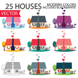 House Vector Clipart, cute homes, clip art, houses, colorful, for kids, teachers