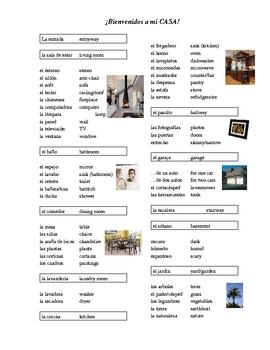 House Vocabulary List (Spanish)