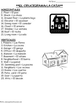 House Vocabulary Lists, Activities, Crossword, Games, and Quiz Unit