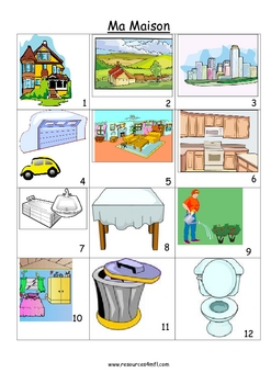 FRENCH - House and Home Pictures to practise speaking skills