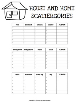 graphic about Printable Scattergories named Household and Residence printable no prep scattergories video games - English vocabulary activity