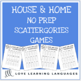 House and Home printable no prep scattergories games - Eng