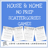 House and Home printable no prep scattergories games - English vocabulary game