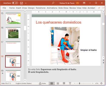 Español: Quehaceres y presente progresivo (Spanish: House chores & present prog)