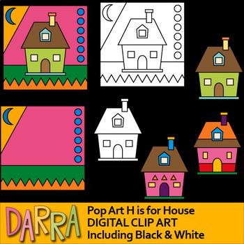 House clip art - Alphabet Letter H - pop art clip art for