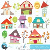 House clipart commercial use, vector graphics, digital cli