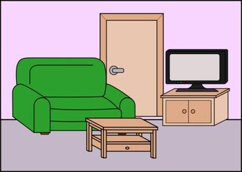 House clipart, rooms, furniture and appliances - Clipart de la casa