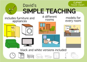 House clipart, rooms, furniture and appliances - Clipart d