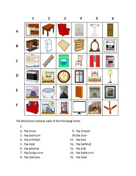 House in English Find it Worksheet