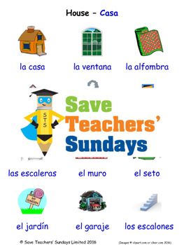 House in Spanish Worksheets, Games, Activities and Flash Cards (with audio)